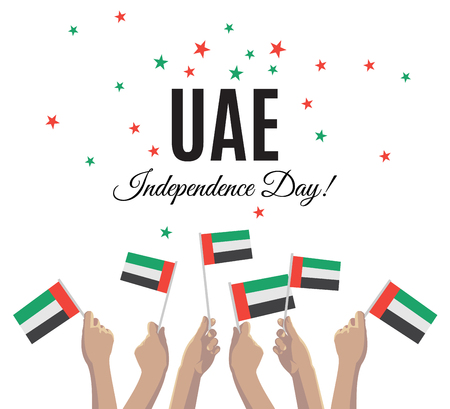 United Arab Emirates Independence Day placard, banner or greeting card. Vector illustration with UAE national flags on young people hands