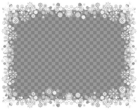 Schneerahmen auf einem transparenten Hintergrund. Abstrakter Winterhintergrund für Ihren Rahmenentwurf der frohen Weihnachten und des guten Rutsch ins Neue Jahr. Vektor-illustration Vektorgrafik