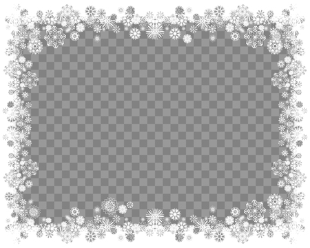 Snow frame on a transparent background. Abstract winter background for your Merry Christmas and Happy New Year frame design. Vector illustration