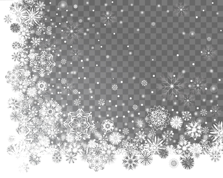 Falling snow on a transparent background. Abstract snow background for your Merry Christmas and Happy New Year corner frame design. Vector illustration