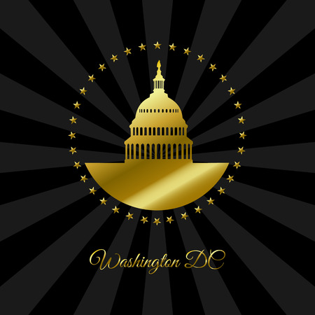 Washington DC symbol. White house and Capitol building a rounded stars in gold isolated on dark rays background. USA landmark. Vector illustration. Illustration