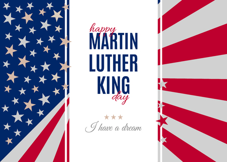 Happy Martin Luther King Day placard, poster or greeting card. Text isolated on white vertical banner. Abstract american flag background. Vector illustration Stock Vector - 91822305