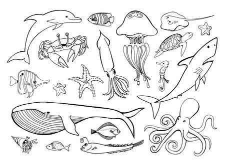 바다 동물 라인 아이콘 손으로 그린 집합입니다. 해양 디자인을위한 해양 생물 컬렉션 낙서. 벡터 그래픽 일러스트