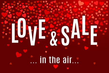 Valentines day Love and Sale in the air banner template with red hearts on dark wine background. Shop market poster for your holiday design. Vector illustration