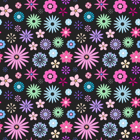 Seamless floral pattern for your print textile design. Cute flat flowers isolated on black background. Vector illustration
