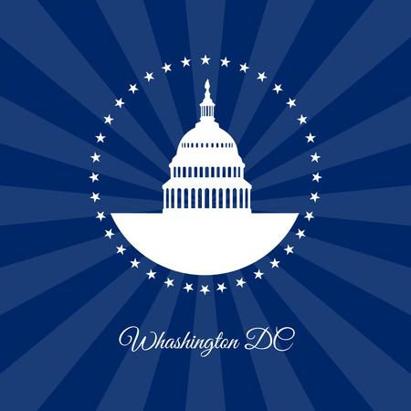 Washington DC symbol. White house and Capitol building rounded stars isolated on dark rays background. USA landmark. Vector illustration