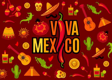 Letras de Viva México e conjunto de ícones. Sol, pirâmide de Moai, tequila, cacto, guitarra, peiote, sombrero, bigode, poncho, dançarina, moeda, feijão, pimenta, crocodilo, maracas, mapa. Ilustração vetorial