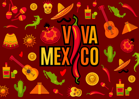 Viva Mexico lettering and icon set. Sun, Moai pyramid, tequila, cactus, guitar, peyote, sombrero, moustache, poncho, dancing girl, coin, bean, chili, crocodile, maracas, map. Vector illustration Vectores