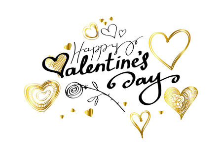 Abstract love background with lettering with hearts and rose for your Happy Valentines Day greeting card design around Doodle gold Hearts on white background. Vector illustration Vectores