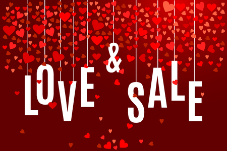 Valentines day Love and Sale banner template with red hearts on dark wine background. Shop market poster for your holiday design. Illustration