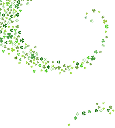 Abstract St. Patrick's day background for your greeting cards or party poster design. Swirl stream from clover shamrock leaves isolated on white background vector illustration.