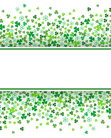 Clover shamrock leaves isolated on white background. Abstract St. Patrick's day border background template with place for your text. Flat vector illustration for your greeting cards design or poster.