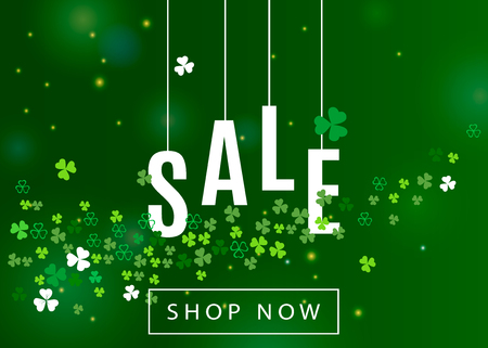 Beautiful ireland background for St. Patrick's day sale poster or banner design. Vector horizontal illustration with clover leaves and white shamrocks silhouette on green backdrop.