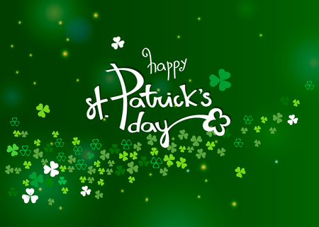 Beautiful clover shamrock leaves banner template for St. Patrick's day design or greeting card. Vector horizontal illustration with white lettering, clover and sparkles on green background