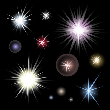 Set of bright glowing colorful stars burst on black background. Glitter suns effect decoration with ray sparkles for your design. Abstract night sky objects. Illustration