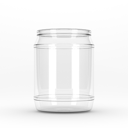 3D rendering Realistic empty glass jar without cap isolated on white background. Mock up blinking glass bank Stok Fotoğraf