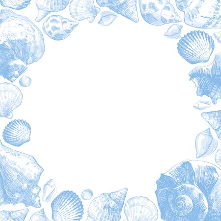 Seashells frame for your ocean life design. Elegant shells border. Summer template collection