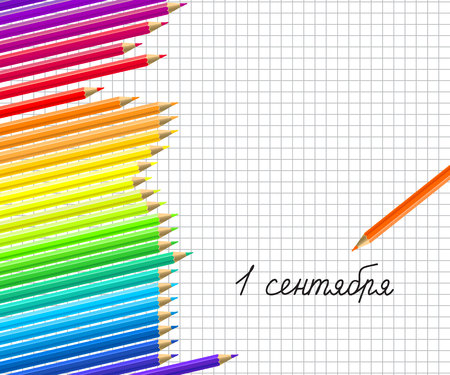 Abstract background with color pencils border. Russian translation of the inscription: September 1 on school exercise book sheet of paper background and childs handwriting. Vector illustration