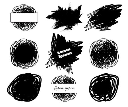 Collection of Brush hand drawing spot boxes for your text isolated on white background. Vector illustration for paintbrush grunge design elements