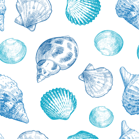 Seashells seamless pattern for your ocean life design. Elegant sea shells background. Summer template collection vector illustaration Çizim