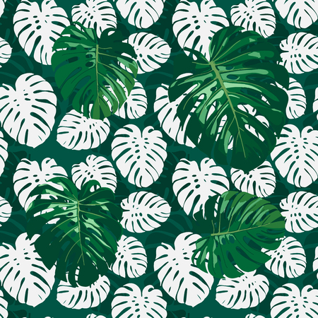 Seamless monstera palm leaves pattern for your summer background. Vector tropical exotic illustration Çizim