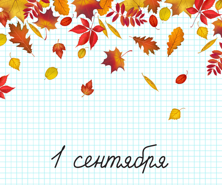Russian translation of the inscription: September 1. Abstract autumn colored leaves on school exercise book sheet of paper background and childs handwriting. Vector illustration
