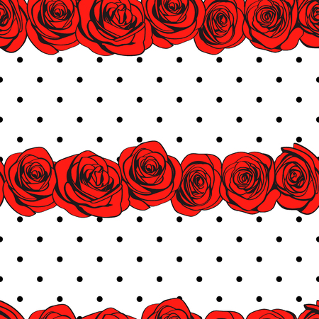 Abstract roses polka dot seamless pattern. Red rose flowers line borders isolated on monochrome doted background texture. Vector illustration