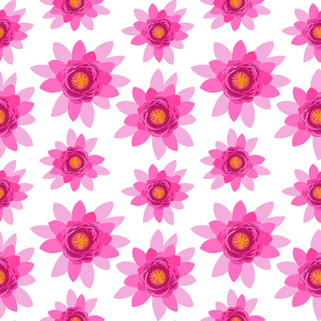Beautiful pink lotus flower blossom seamless pattern isolated on white background. Colorful bloom nature vector illustration for wallpaper or wrapping paper, print or yoga design Çizim