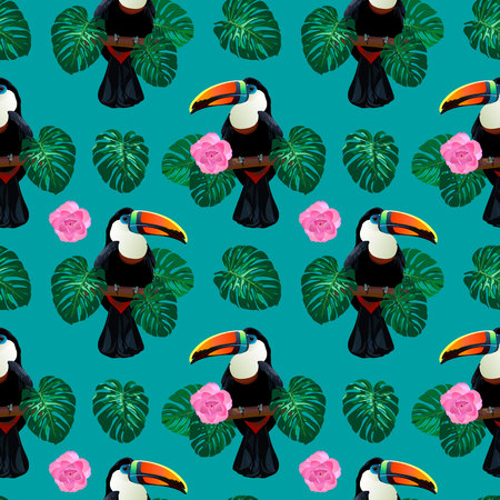 Nature colorful jungle seamless pattern with toucan bird sitting on branch around palm monstera leaves and flowers on deep blue background. Tropical exotic vector illustration for your summer design