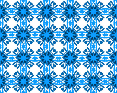 Abstract geometry cornflower blooms seamless pattern. Blue flowers isolated on white background orient texture. Vector arabesque ismalic illustration Çizim