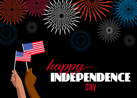Happy Independence Day (4th of July) placard, poster or greeting card. Text, fireworks and hands with american flags isolated on black horizontal banner. Vector illustration for USA holiday design Çizim