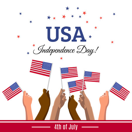 USA 4th of July Independence Day placard, banner or greeting card. Vector illustration with american flags on young people hands Vettoriali