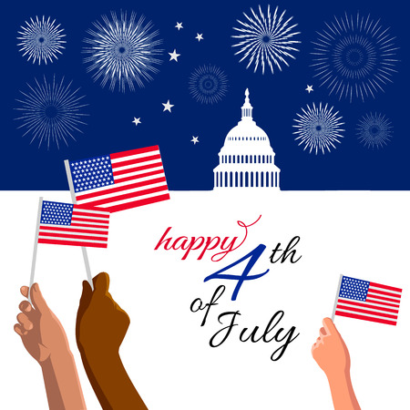 4th of July Independence Day placard, banner or greeting card. Patriotic American background with abstract USA flag and White house and Capitol building Washington DC symbol. Vector illustration