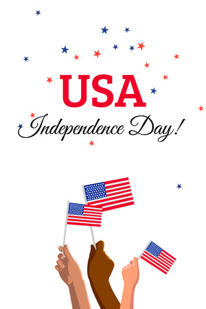 USA 4th of July Independence Day placard, banner or greeting card. Vector illustration with american flags on young people hands Çizim