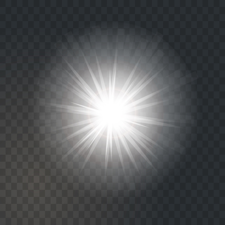 Bright glowing light sun burst on dark transparent background. Glitter star effect decoration with ray sparkles for your design. Vector illustration of explosion