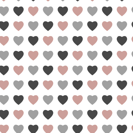 Abstract love seamless pattern for St Valentines Day design. Rose and grey hearts isolated on white background. Vector illustration