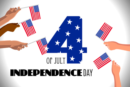 4th of July USA Independence Day placard, poster or greeting card. Number 4 text and hands with american flags on white horizontal banner. Vector illustration