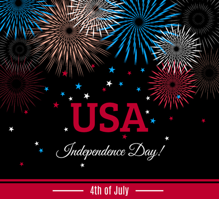 USA 4th of July Independence Day placard, banner or greeting card with fireworks and stars shape confetti. Vector illustration Çizim