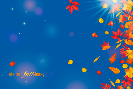 Autumn leaves isolated on clear blue sky background. Abstract fall sunny background for your greeting cards design or website. Vector illustration Çizim