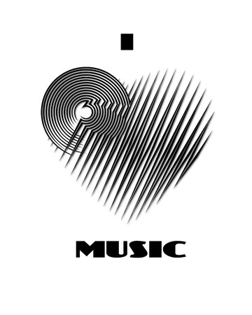 I love music abstract poster monochrome label isolated on white background. CD-disk and heart logo graphic design element. Vector illustration