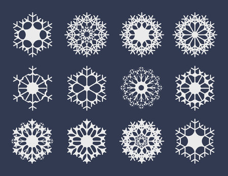 White snowflake icons collection isolated on dark background for your winter design. Vector illustration for abstract snow pattern or snowfall Çizim