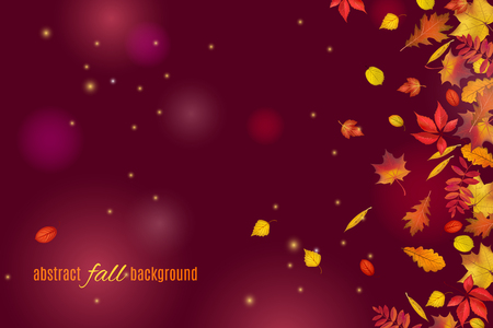 Autumn leaves isolated on beautiful dark brown background with lights and sparkles. Abstract hello Autumn background for your greeting cards design or website. Vector illustration