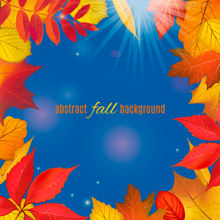 Autumn colored foliage frame for your design. Bright falling leaves isolated on clear blue sky background border with place for your text. Vector illustration