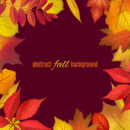 Autumn colored foliage frame for your design. Bright falling leaves isolated on brown border with place for your text. Vector illustration