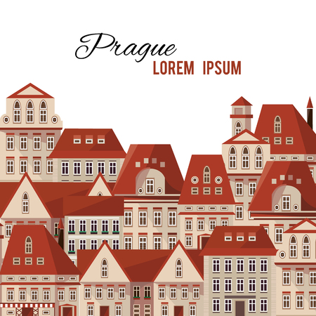 Modern typography Prague town houses red roofs panorama. Vector city Prague Czech Republic background for your design. Can be used for postcard, poster or print. Prague vector illustration