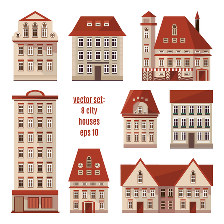 Modern detailed flat vector buildings collection. Colorful template for you design. Set of Europe city houses. Different types of homes isolated on white. Editable elements for your design. Apartments