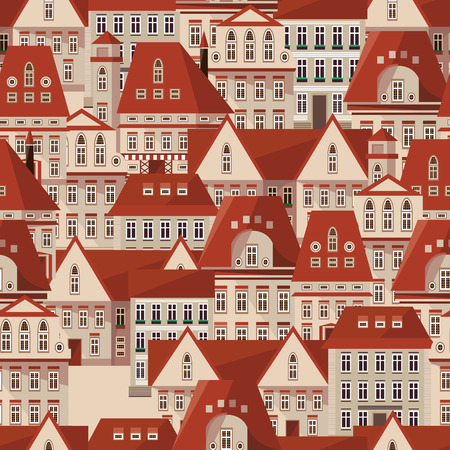 Vector red roofs seamless pattern. Modern town houses panorama. Vector city Prague Czech Republic seamless background for your design. Can be used for card, poster, print. Prague seamless texture Çizim