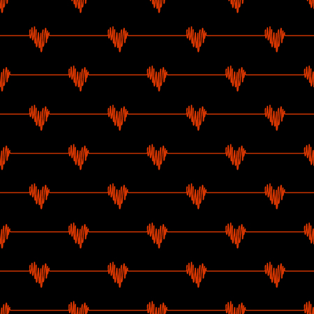 Red doodle line hearts wave deflection seamless pattern on black background. Vector hand drawn sketch illustration for heartbeat cardio