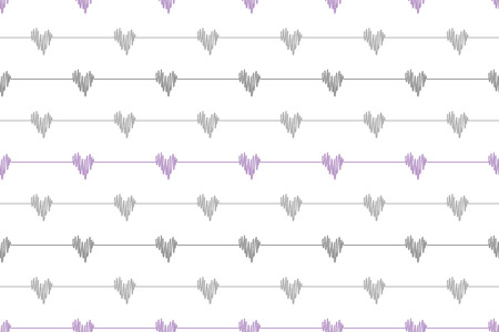 Grey doodle line hearts wave deflection seamless pattern on white background. Vector hand drawn sketch illustration for heartbeat cardio Çizim