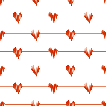 Red doodle line hearts wave deflection seamless pattern on white background. Vector hand drawn sketch illustration for heartbeat cardio